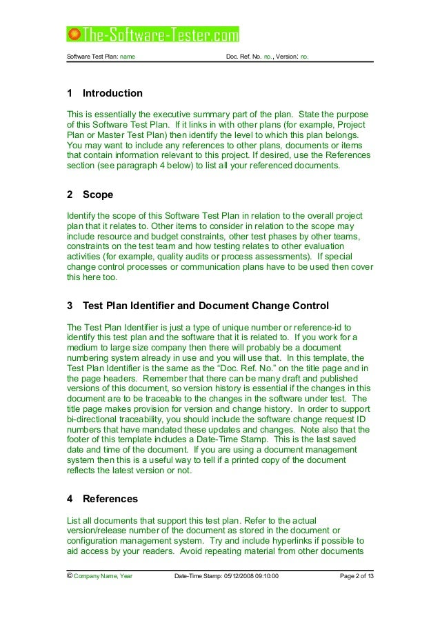 02 software test plan template for Functional test plan template