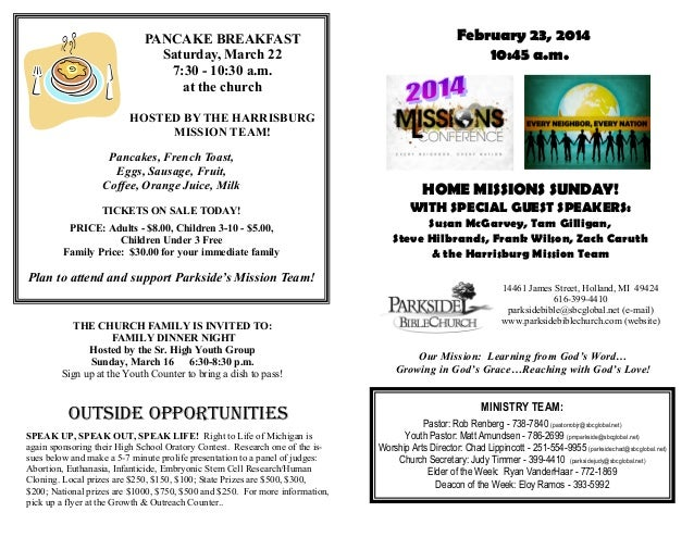PANCAKE BREAKFAST Saturday, March 22 7:30 - 10:30 a.m. at the church  February 23, 2014 10:45 a.m.  HOSTED BY THE HARRISBU...