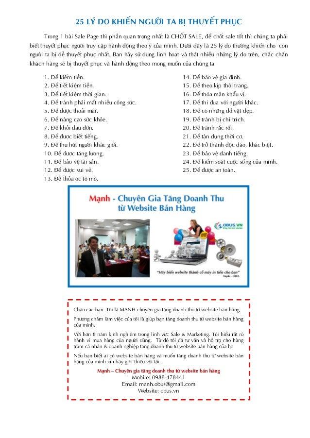 25 LÝ DO KHIẾN NGƯỜI TA BỊ THUYẾT PHỤC Trong 1 bài Sale Page thì phần quan trọng nhất là CHỐT SALE, để chốt sale tốt thì c...
