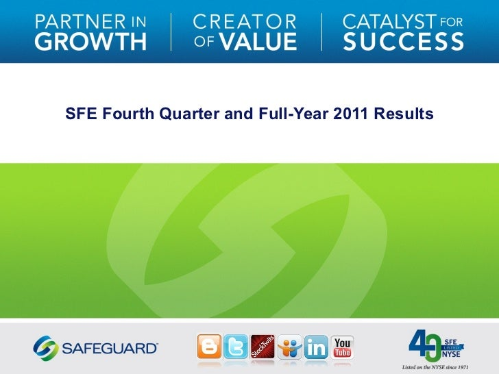SFE Fourth Quarter and Full-Year 2011 Results