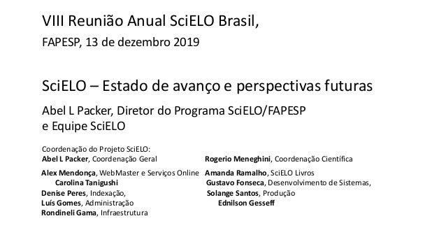 SciELO – Estado de avanço e perspectivas futuras Abel L Packer, Diretor do Programa SciELO/FAPESP e Equipe SciELO VIII Reu...