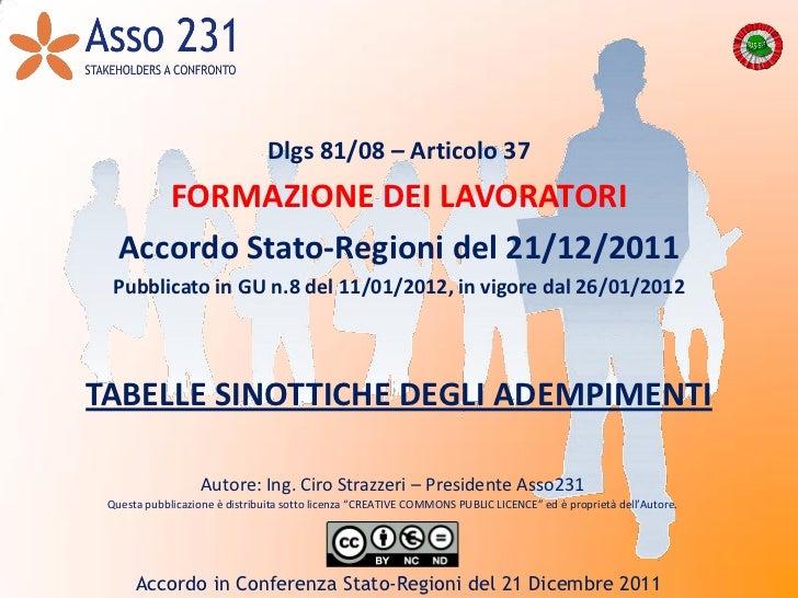 Dlgs 81/08 – Articolo 37      FORMAZIONE DEI LAVORATORI   Accordo Stato-Regioni del 21/12/2011  Pubblicato in GU n.8 del 1...