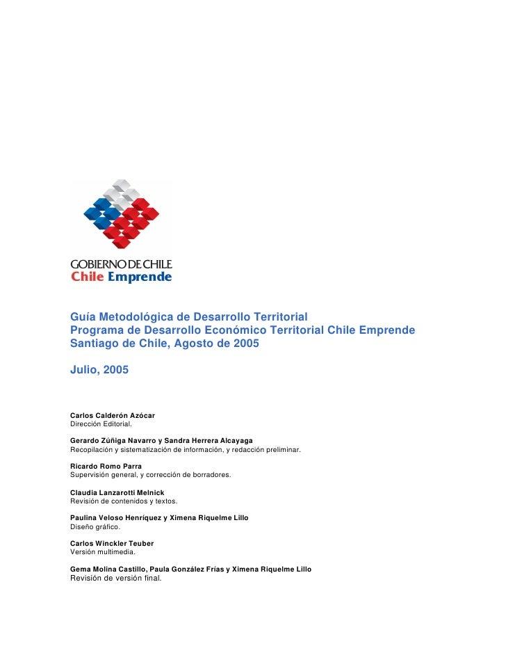 Guía Metodológica de Desarrollo Económico Territorial (Programa Chile Emprende) - parte 1 Slide 2