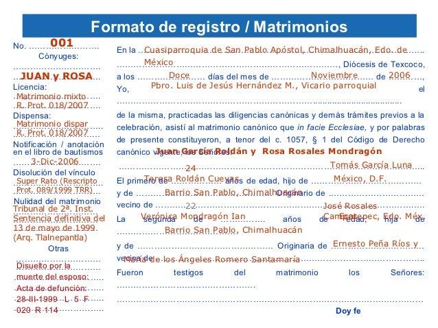 Acta De Matrimonio Catolico : Anotaciones registrales en los libros parroquiales y