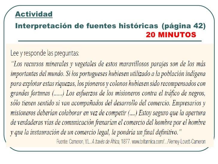 ActividadInterpretación de fuentes históricas (página 42)                                 20 MINUTOS