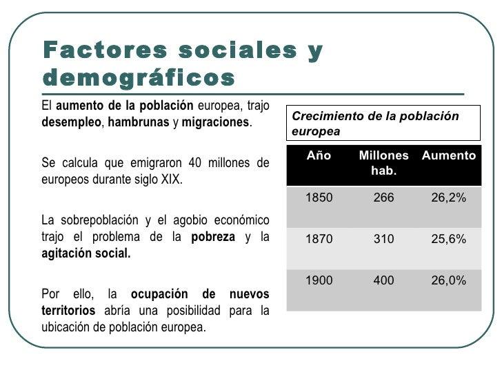 Factores sociales ydemográficosEl aumento de la población europea, trajo                                            Crecim...