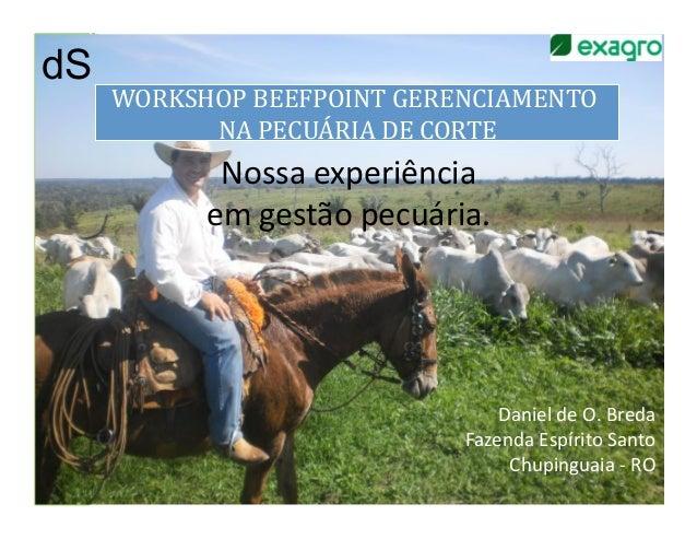 dSdS     WORKSHOP BEEFPOINT GERENCIAMENTO            NA PECUÁRIA DE CORTE               Nossa experiência...