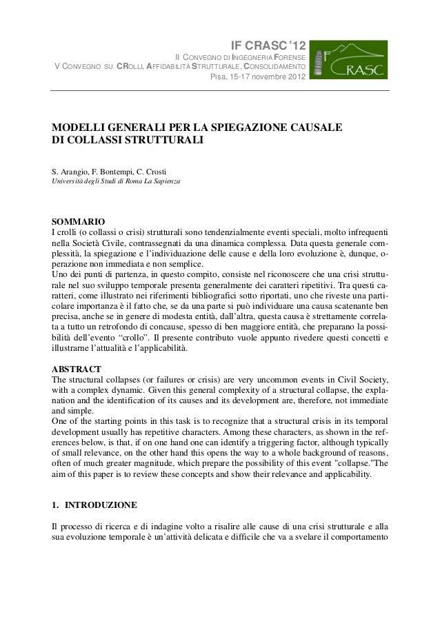 IF CRASC '12                                     II CONVEGNO DI INGEGNERIA FORENSEV CONVEGNO       SU   CROLLI, AFFIDABILI...