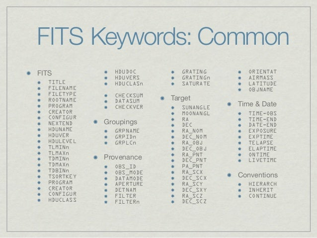 FITS Keywords: CommonFITS           HDUDOC        GRATING       ORIENTAT               HDUVERS       GRATINGn      AIRMASS...