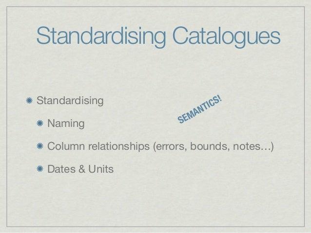 Standardising CataloguesStandardising                       IC S!                                A NT                     ...