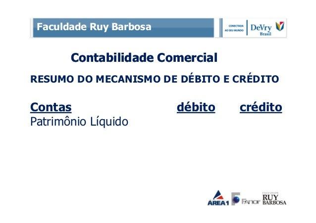 Faculdade Ruy Barbosa       Contabilidade ComercialRESUMO DO MECANISMO DE DÉBITO E CRÉDITOContas                   débito ...