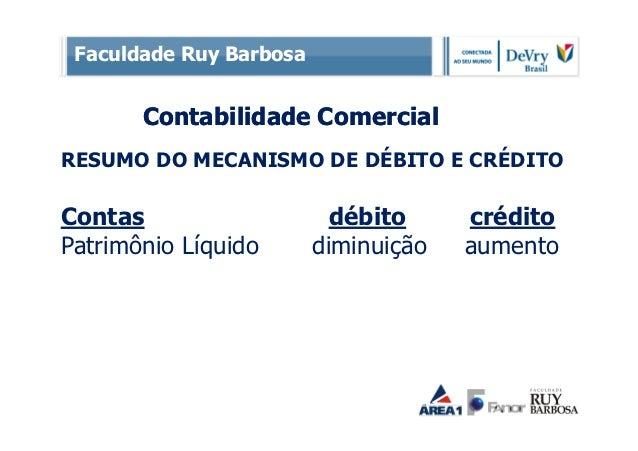 Faculdade Ruy Barbosa       Contabilidade ComercialRESUMO DO MECANISMO DE DÉBITO E CRÉDITOContas                     débit...