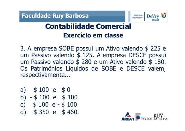 Faculdade Ruy Barbosa        Contabilidade Comercial                  Exercício em classe3. A empresa SOBE possui um Ativo...