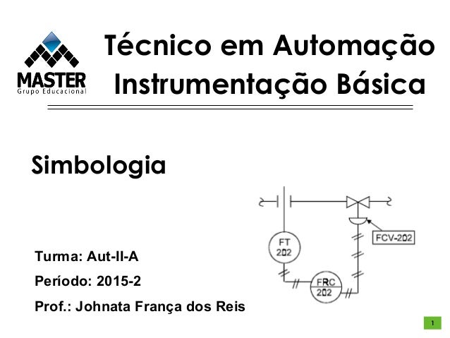Técnico em Automação Instrumentação Básica Turma: Aut-II-A Período: 2015-2 Prof.: Johnata França dos Reis Simbologia 1