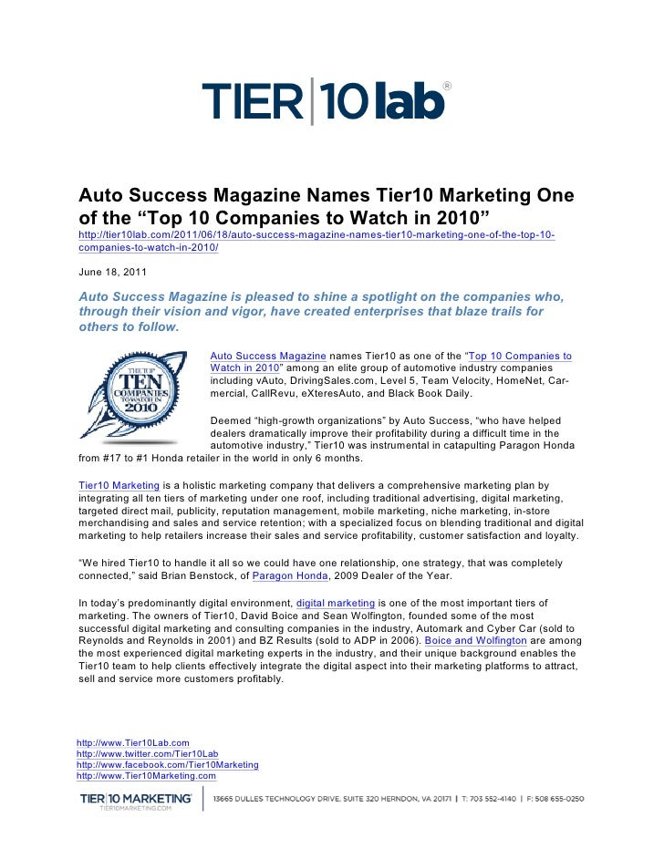 "Auto Success Magazine Names Tier10 Marketing Oneof the ""Top 10 Companies to Watch in 2010""http://tier10lab.com/2011/06/18..."