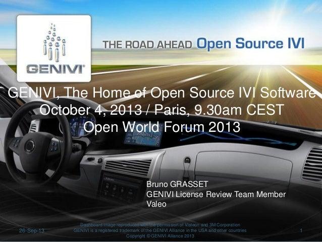 GENIVI, The Home of Open Source IVI Software October 4, 2013 / Paris, 9.30am CEST Open World Forum 2013  Bruno GRASSET GEN...