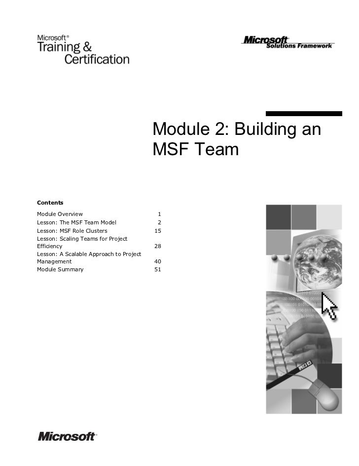 Module 2: Building an                                         MSF TeamContentsModule Overview                           1L...