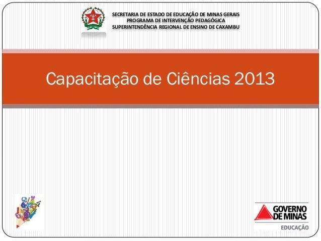 Capacitação de Ciências 2013 SECRETARIA DE ESTADO DE EDUCAÇÃO DE MINAS GERAIS PROGRAMA DE INTERVENÇÃO PEDAGÓGICA SUPERINTE...