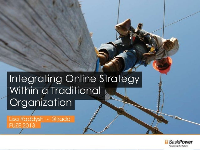 Integrating Online StrategyWithin a TraditionalOrganizationLisa Raddysh - @lraddFUZE 2013                              1