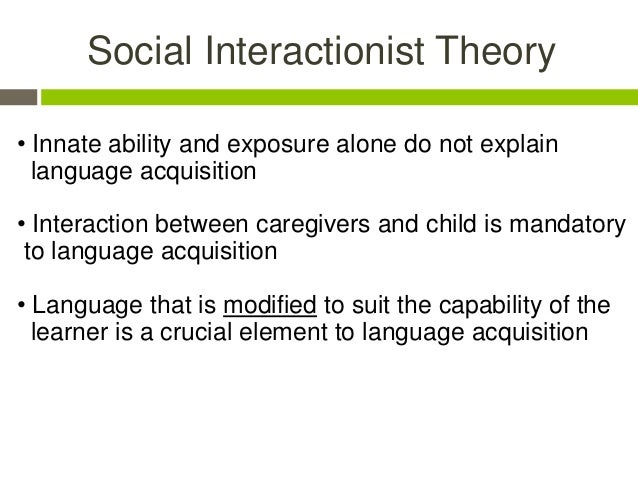 interactionist perspective on language development By explaining human language development and cognitive development, vygotsky's social interactionist theory serves as a strong foundation of the modern trends in applied linguistics.