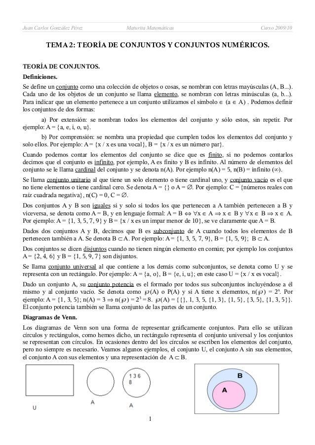 Juan Carlos González Pérez Maturita Matemáticas Curso 2009/10TEMA 2: TEORÍA DE CONJUNTOS Y CONJUNTOS NUMÉRICOS.TEORÍA DE C...