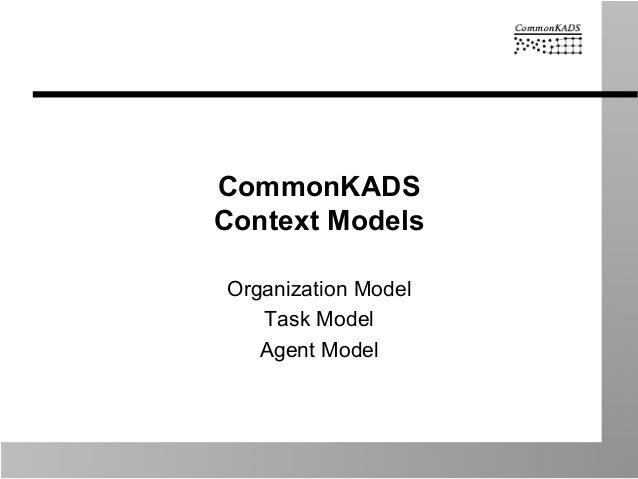 CommonKADS Context Models Organization Model Task Model Agent Model