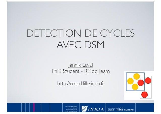 DETECTION DE CYCLES AVEC DSM Jannik Laval PhD Student - RModTeam http://rmod.lille.inria.fr RMod