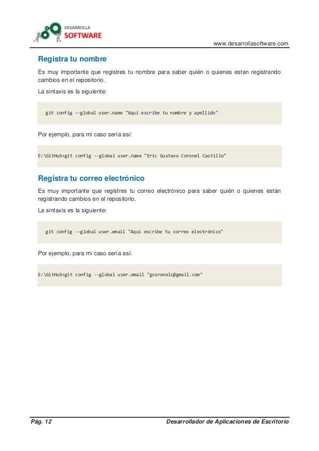 www.desarrollasoftware.com Pág. 12 Desarrollador de Aplicaciones de Escritorio Registra tu nombre Es muy importante que re...
