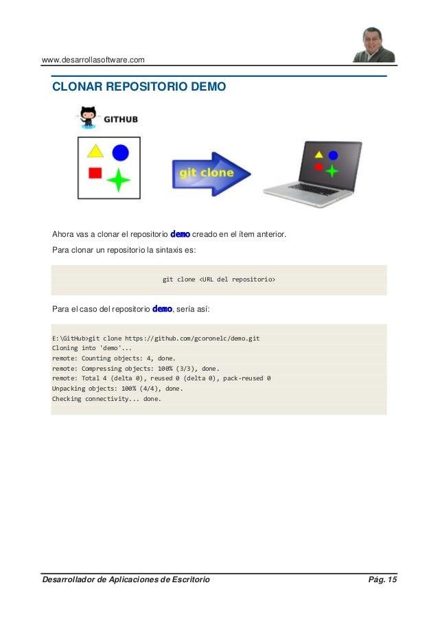 www.desarrollasoftware.com Desarrollador de Aplicaciones de Escritorio Pág. 15 CLONAR REPOSITORIO DEMO Ahora vas a clonar ...
