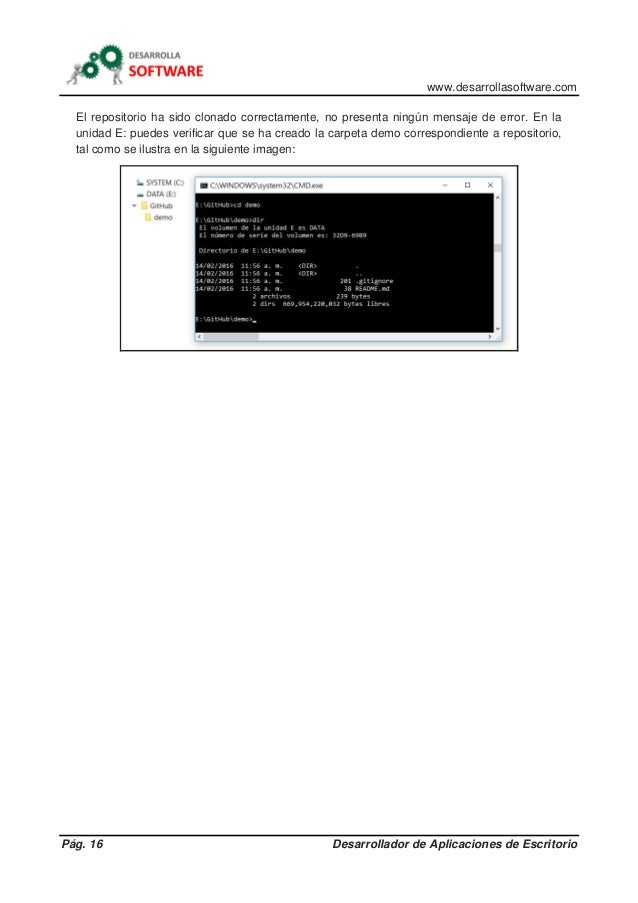 www.desarrollasoftware.com Pág. 16 Desarrollador de Aplicaciones de Escritorio El repositorio ha sido clonado correctament...