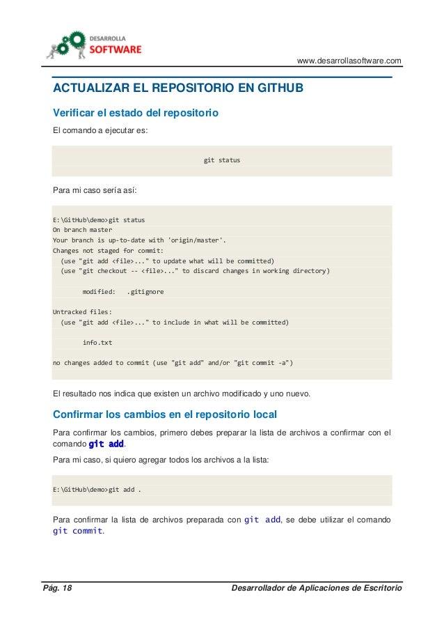 www.desarrollasoftware.com Pág. 18 Desarrollador de Aplicaciones de Escritorio ACTUALIZAR EL REPOSITORIO EN GITHUB Verific...