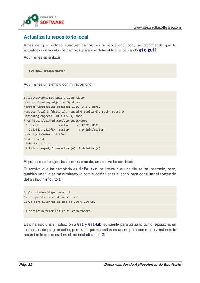 www.desarrollasoftware.com Pág. 22 Desarrollador de Aplicaciones de Escritorio Actualiza tu repositorio local Antes de que...