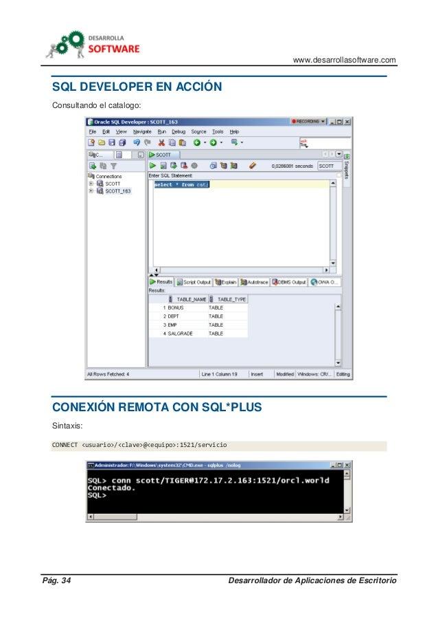 www.desarrollasoftware.com Pág. 34 Desarrollador de Aplicaciones de Escritorio SQL DEVELOPER EN ACCIÓN Consultando el cata...