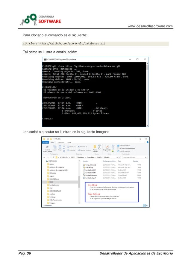 www.desarrollasoftware.com Pág. 36 Desarrollador de Aplicaciones de Escritorio Para clonarlo el comando es el siguiente: g...