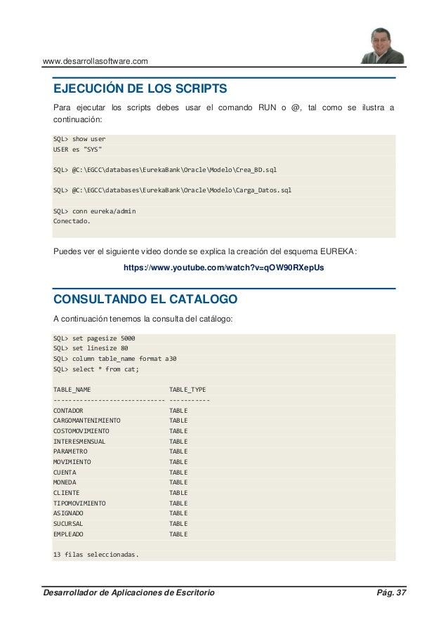www.desarrollasoftware.com Desarrollador de Aplicaciones de Escritorio Pág. 37 EJECUCIÓN DE LOS SCRIPTS Para ejecutar los ...