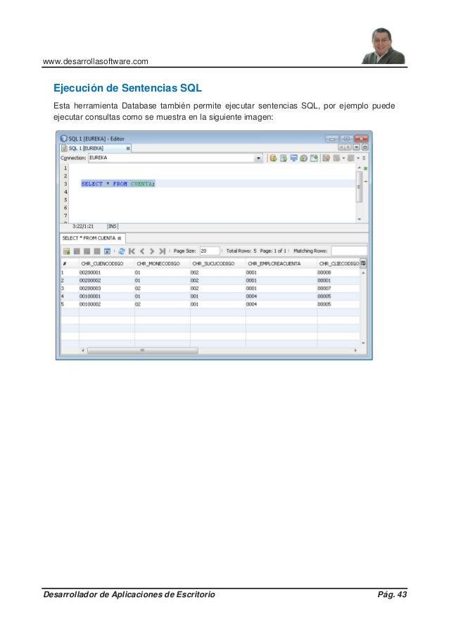 www.desarrollasoftware.com Desarrollador de Aplicaciones de Escritorio Pág. 43 Ejecución de Sentencias SQL Esta herramient...
