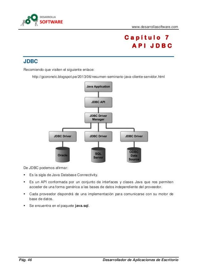 www.desarrollasoftware.com Pág. 46 Desarrollador de Aplicaciones de Escritorio C a p í t u l o 7 A P I J D B C JDBC Recomi...