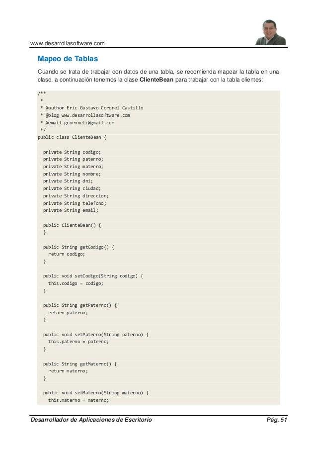 www.desarrollasoftware.com Desarrollador de Aplicaciones de Escritorio Pág. 51 Mapeo de Tablas Cuando se trata de trabajar...