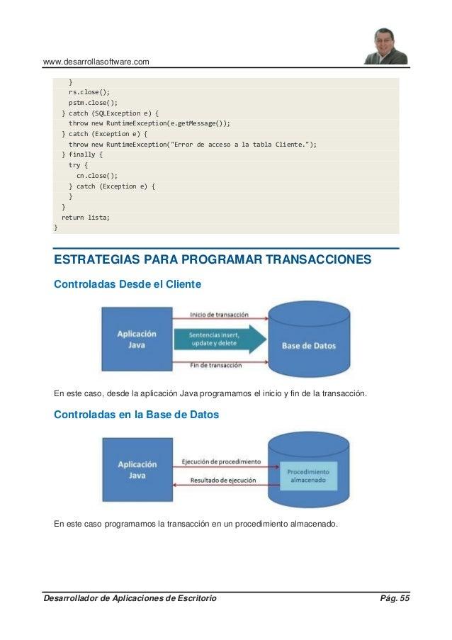 www.desarrollasoftware.com Desarrollador de Aplicaciones de Escritorio Pág. 55 } rs.close(); pstm.close(); } catch (SQLExc...