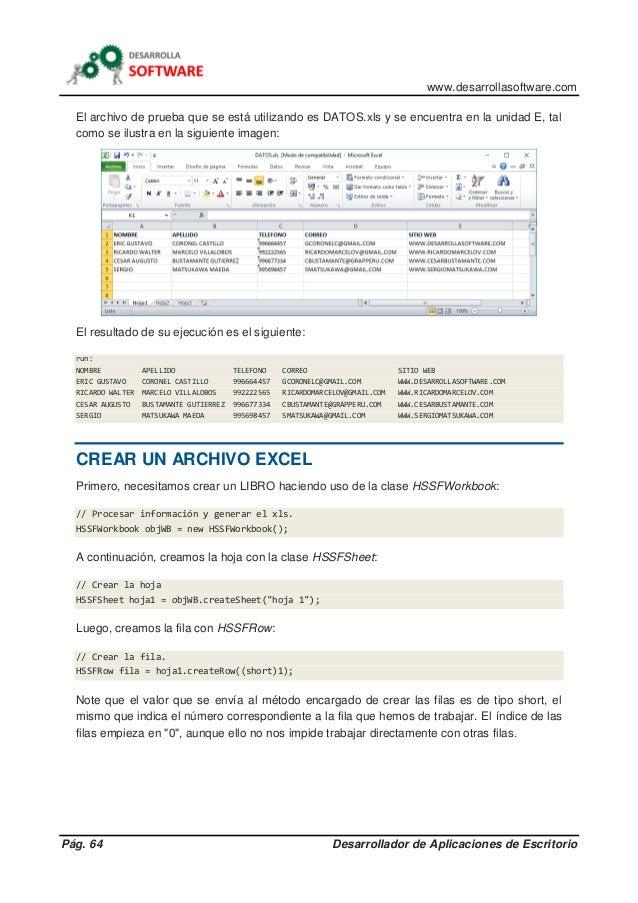 www.desarrollasoftware.com Pág. 64 Desarrollador de Aplicaciones de Escritorio El archivo de prueba que se está utilizando...