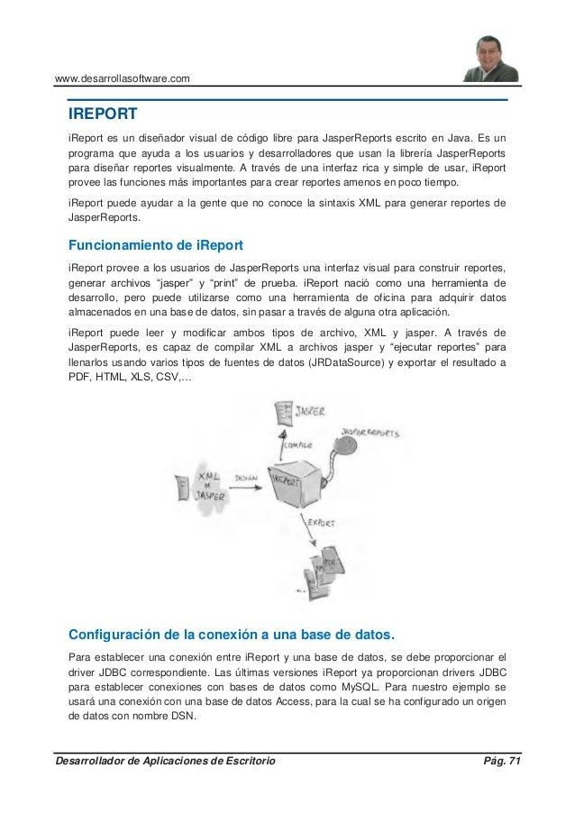 www.desarrollasoftware.com Desarrollador de Aplicaciones de Escritorio Pág. 71 IREPORT iReport es un diseñador visual de c...