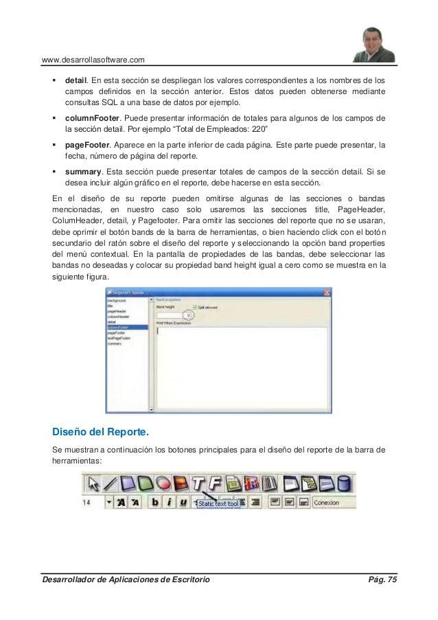 www.desarrollasoftware.com Desarrollador de Aplicaciones de Escritorio Pág. 75  detail. En esta sección se despliegan los...