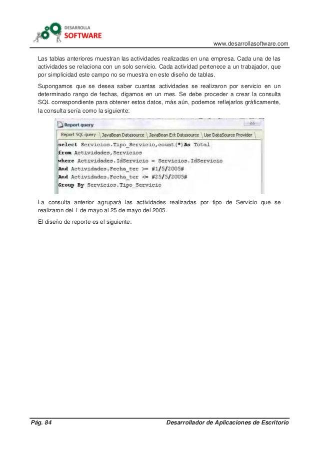 www.desarrollasoftware.com Pág. 84 Desarrollador de Aplicaciones de Escritorio Las tablas anteriores muestran las activida...
