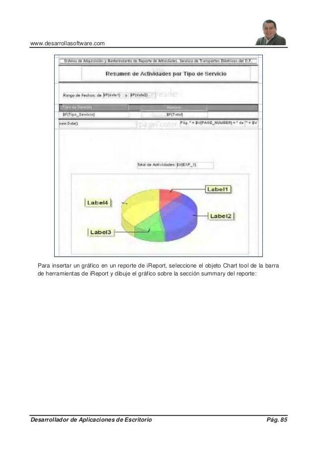 www.desarrollasoftware.com Desarrollador de Aplicaciones de Escritorio Pág. 85 Para insertar un gráfico en un reporte de i...