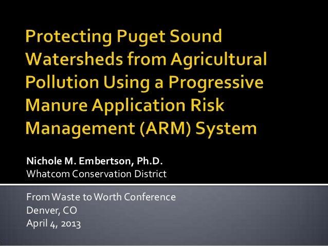 Nichole M. Embertson, Ph.D.Whatcom Conservation DistrictFromWaste toWorth ConferenceDenver, COApril 4, 2013
