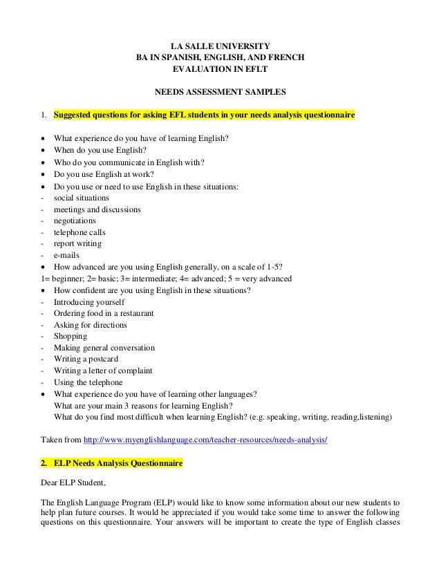 Needs Assessment Samples. LA SALLE UNIVERSITY BA IN SPANISH, ENGLISH, ...