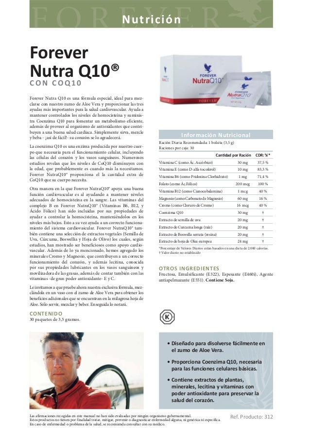 NutriciónForeverNutra1 0Q10®CON COQForever Nutra Q10 es una fórmula especial, ideal para mez-clarse con nuestro zumo de Al...