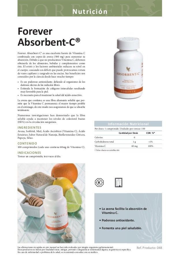 NutriciónForeverAbsorbent-C®Forever Absorbent-C® es una excelente fuente de Vitamina Ccombinada con copos de avena (500 mg...