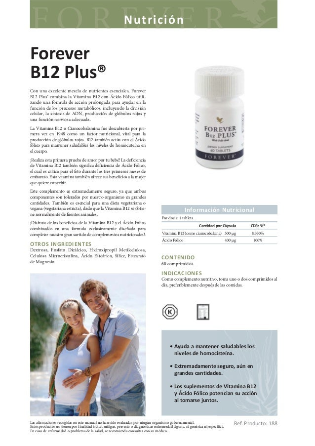 NutriciónForeverB12 Plus®Con una excelente mezcla de nutrientes esenciales, ForeverB12 Plus® combina la Vitamina B12 con Á...