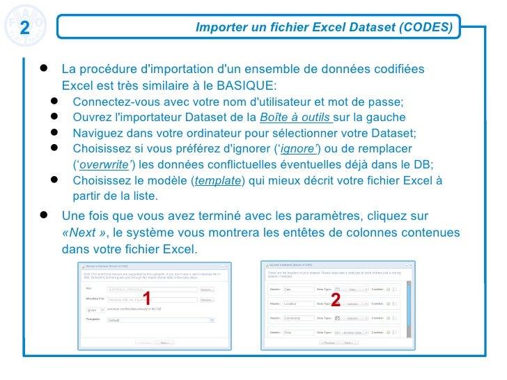 Importer un fichier Excel Dataset (CODES) <ul><li>La procédure d'importation d'un ensemble de données codifiées Excel est ...